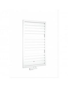 Vertikální designový radiátor v moderním designu a modré barvě. Modrý radiátor vhodný do obývacího pokoje, kuchyně, nebo chodby.