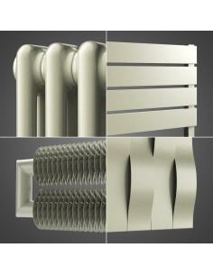 Zelený horizontální radiátor. Moderní vytápění.